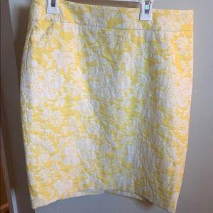Ann Taylor Yellow Magnolia jacquard pencil skirt